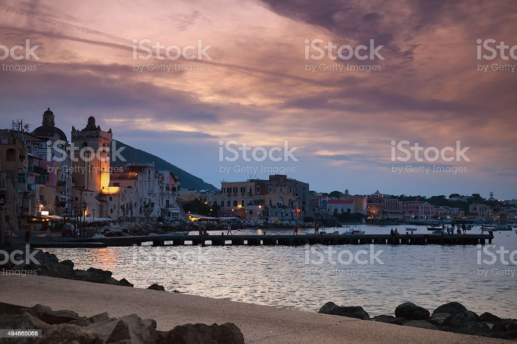 Night cityscape of Ischia Porto, Italy stock photo