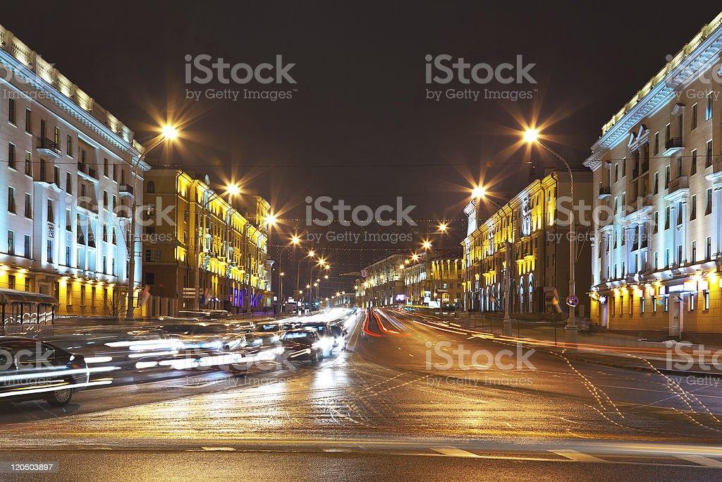Night cityscape of Minsk, Belarus royalty-free stock photo