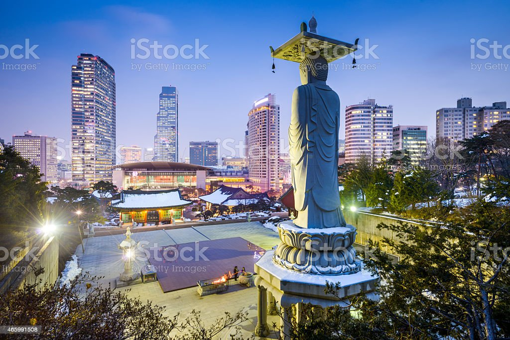 Night cityscape view of Gangnam Seoul, South Korea stock photo
