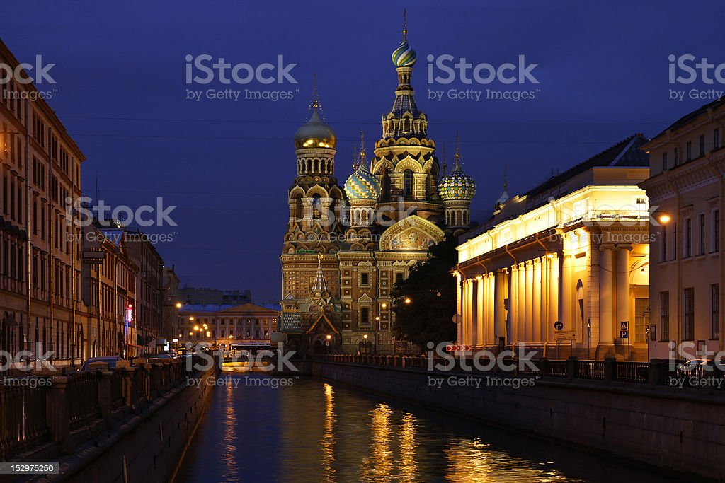 Night cityscape with channel and cathedral royalty-free stock photo