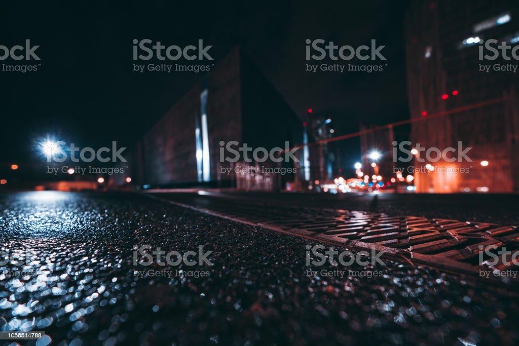 Nacht Stadtbild mit geringen Schärfentiefe, Weitwinkel – Foto