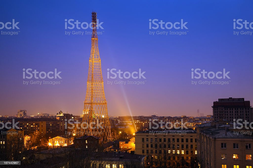 Night cityscape with Shukhov communication tower royalty-free stock photo