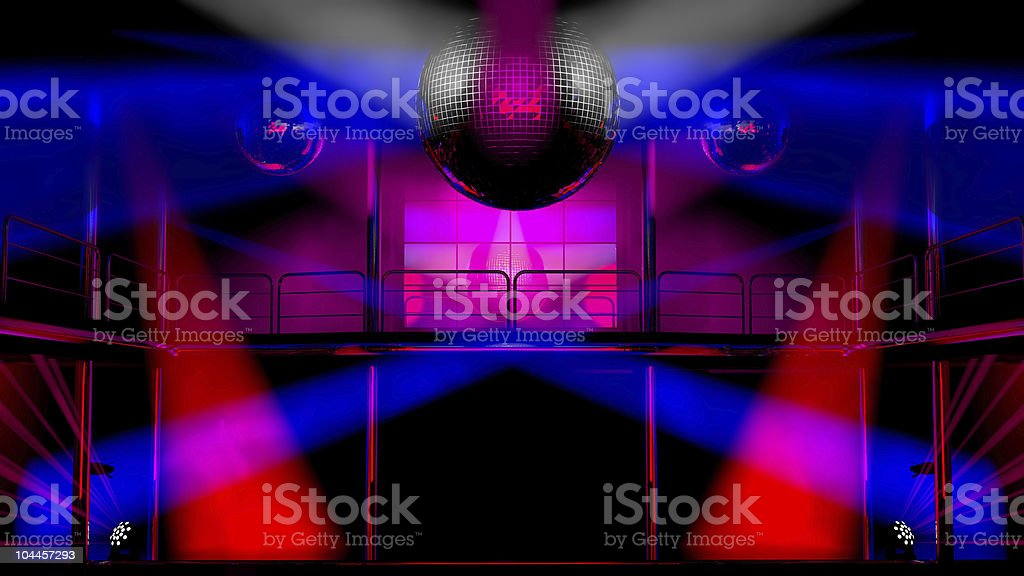 Night club discotheque colorful lights and disco balls royalty-free stock photo