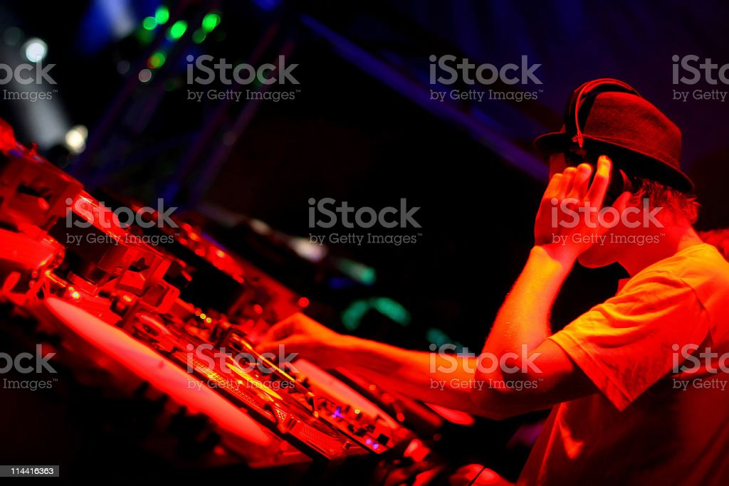 Night club house DJ playing his set  stock photo