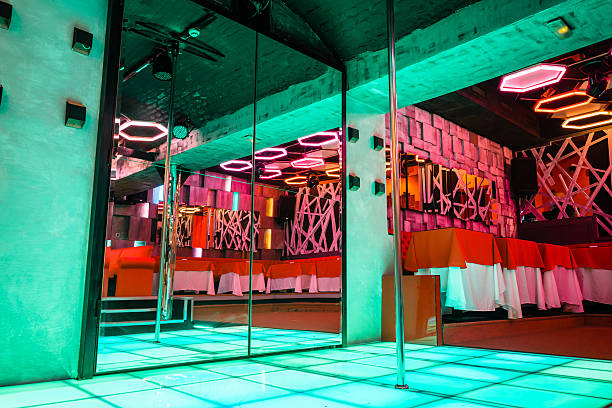Night club interior with pole dance stage - foto de stock