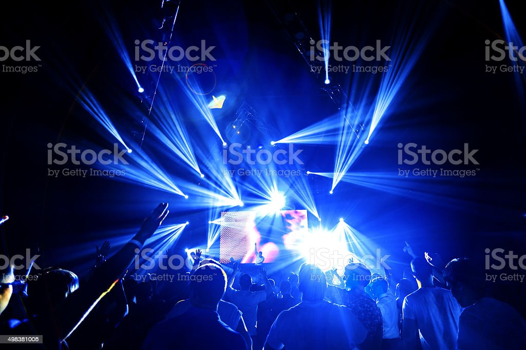 night club party crowd hands up stock photo