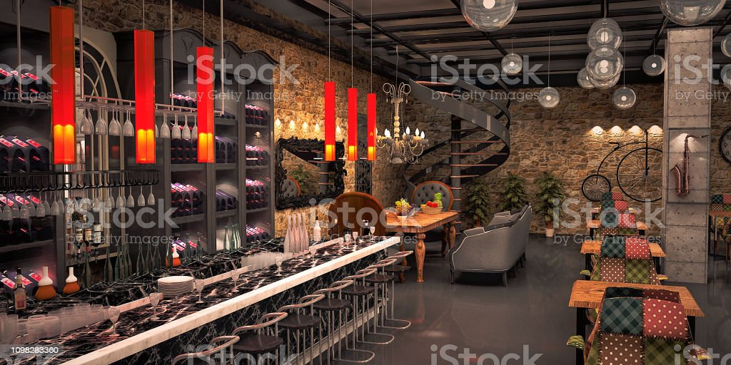 Groovy Night Club Restaurant Bar Design Render By 3D Software Stock Interior Design Ideas Clesiryabchikinfo