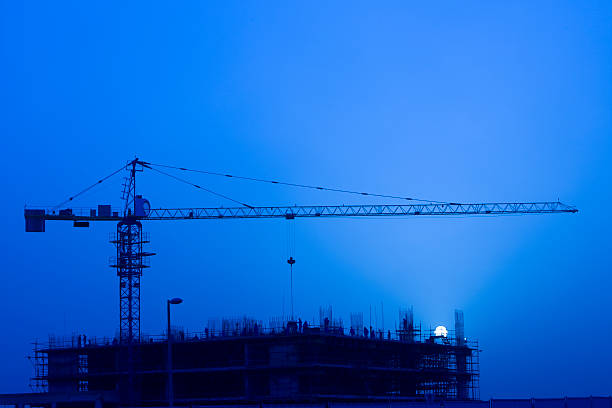 Night Construction stock photo