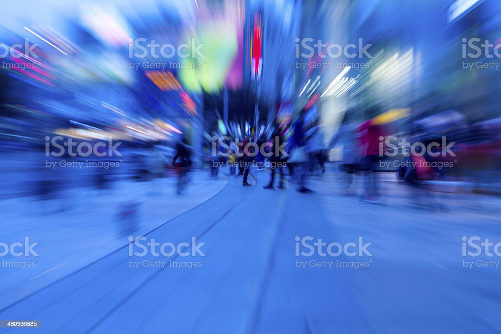 Night Crowds in the downtown area stock photo