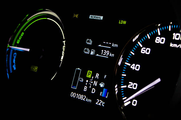 Night dashboard Hybrid vehicle night dashboard hybrid car stock pictures, royalty-free photos & images