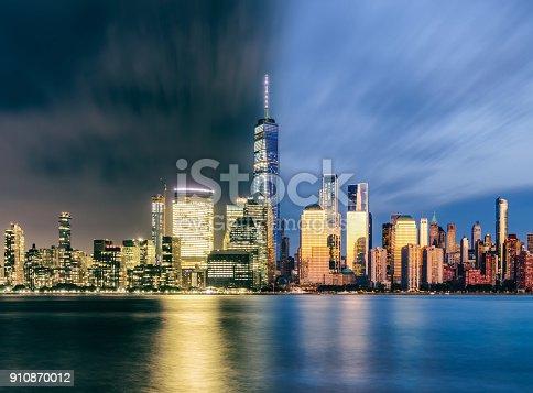 910867946 istock photo night day Downtown manhattan new york jersey city golden hour sunset 910870012