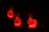 istock Night decorative lamps with a frightening smile. Halloween decor 1281801350