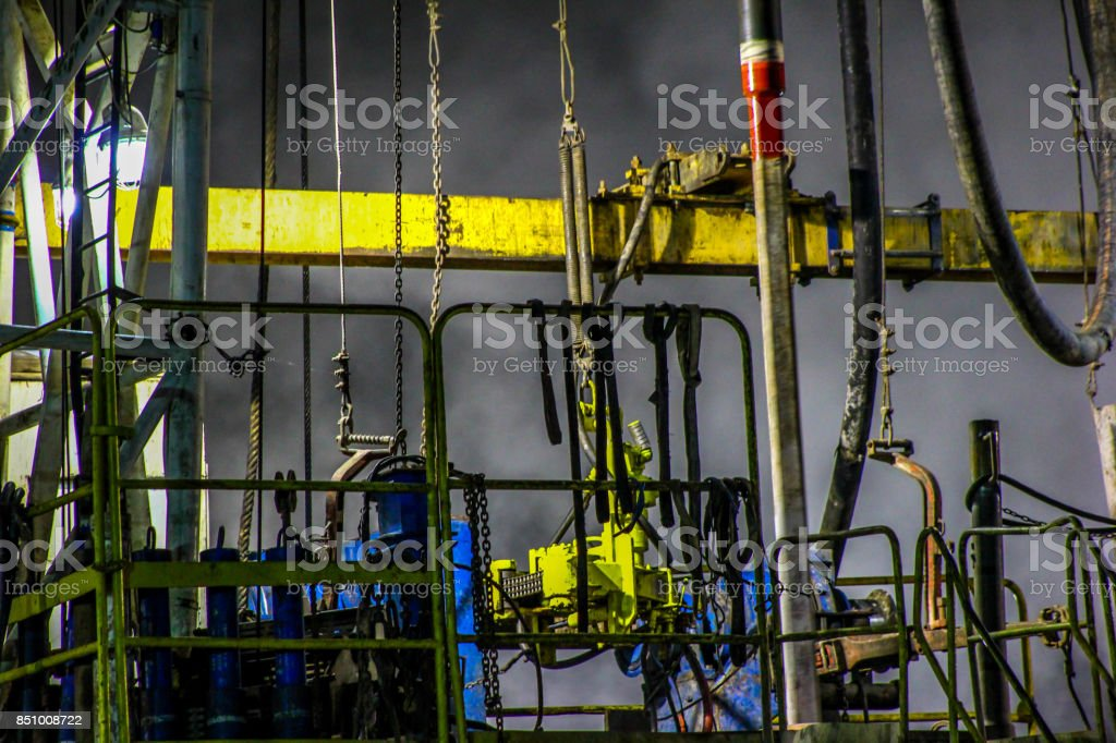 Night drilling on the geothermal well platform stock photo