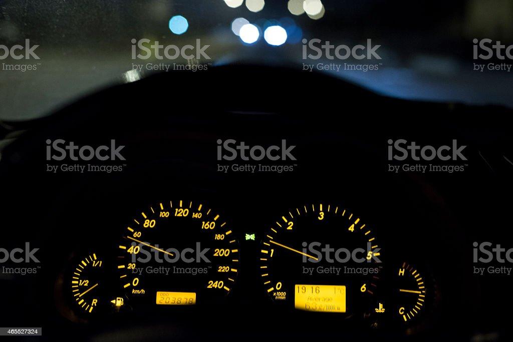 Night drive 50km/h stock photo