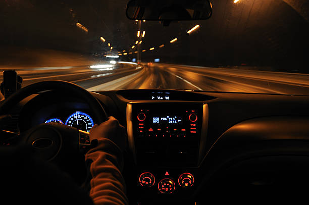Night drive from car view stock photo