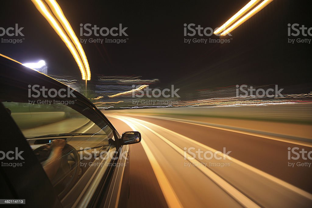 Night Drive With Car In Motion Stock Photo - Download Image