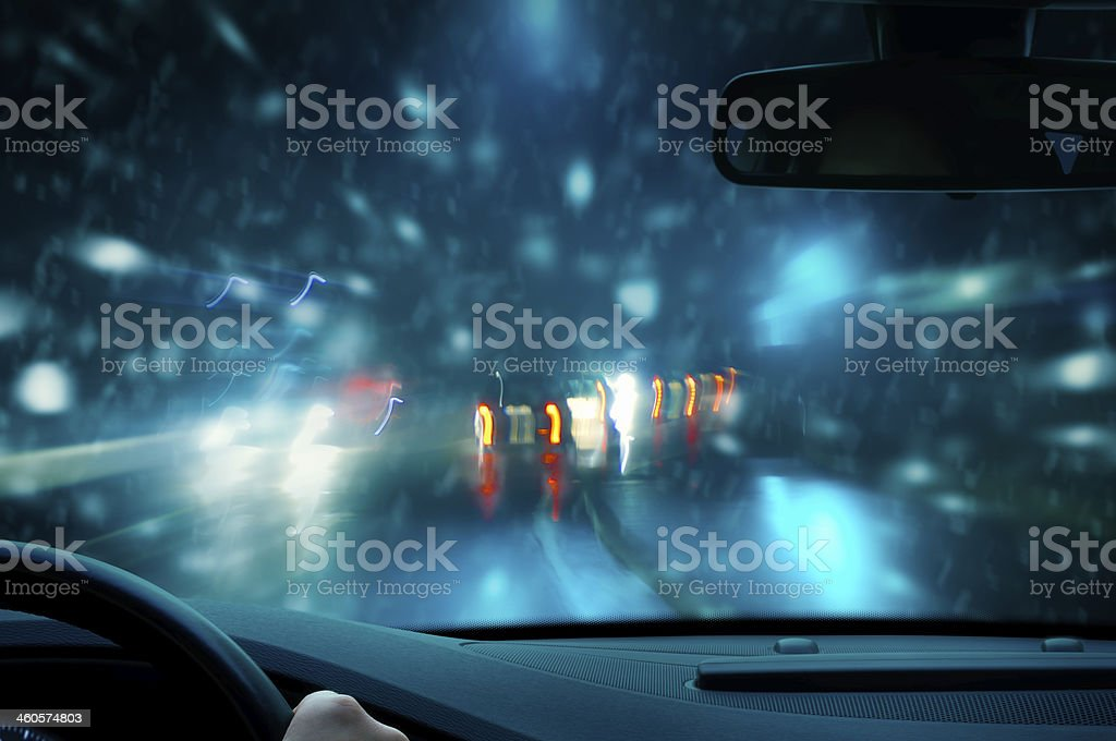 night driving - caution snow stock photo