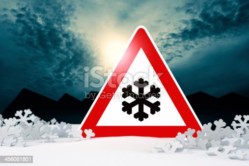 482803237 istock photo night driving in winter - warning sign 456061801