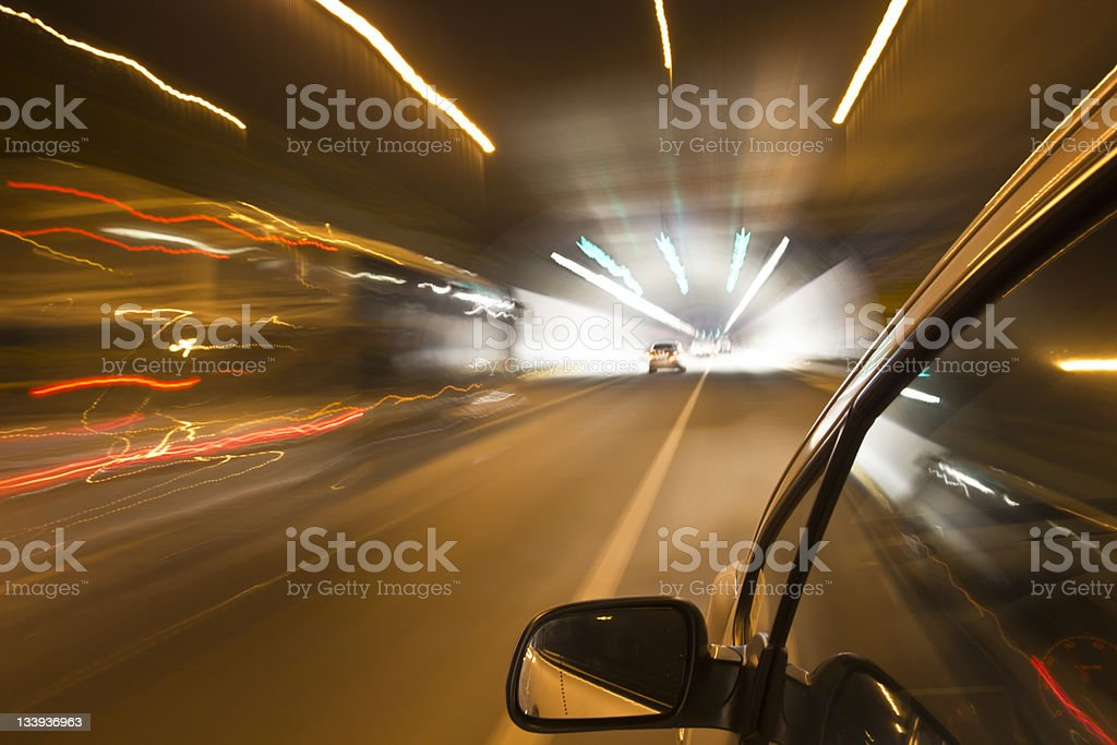 Night driving into tunnel royalty-free stock photo