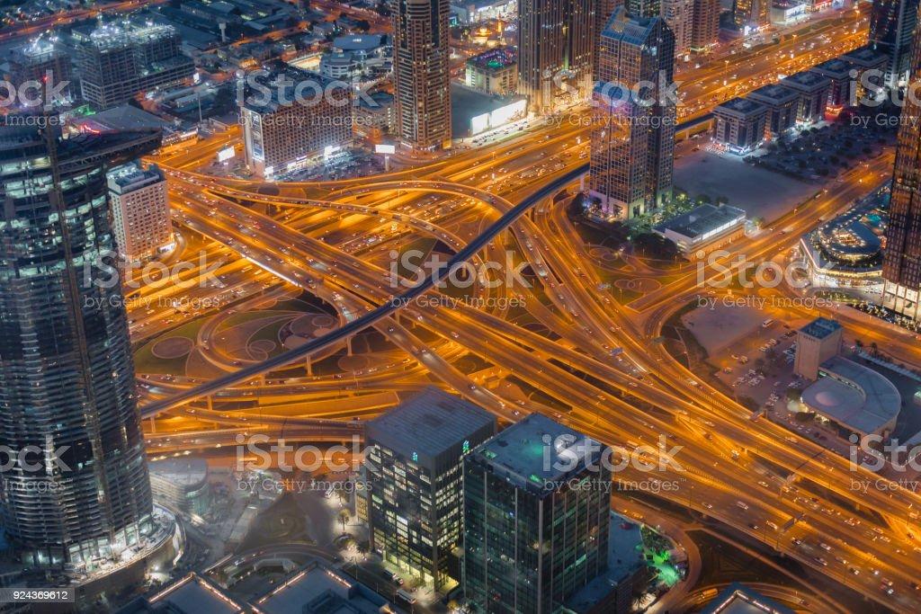 Night Dubai downtown skyline, United Arab Emirates stock photo