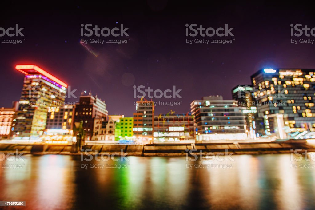 Night Dusseldorf.Germany.Natural blurred background. Soft light stock photo