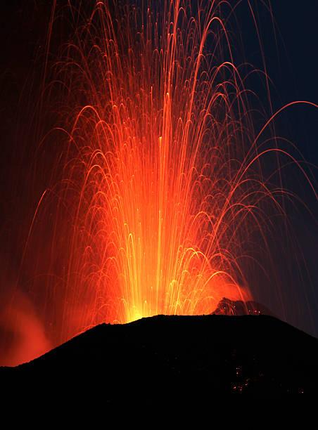 Night eruption, volcano Stromboli stock photo