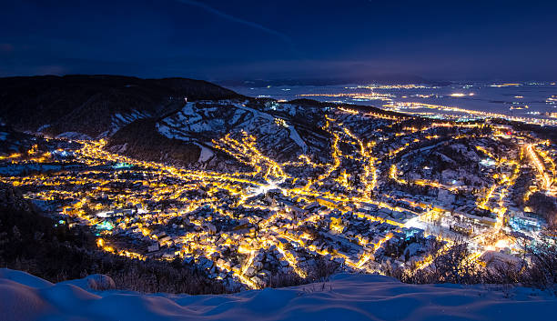 Night exposure over old part of Brasov stock photo