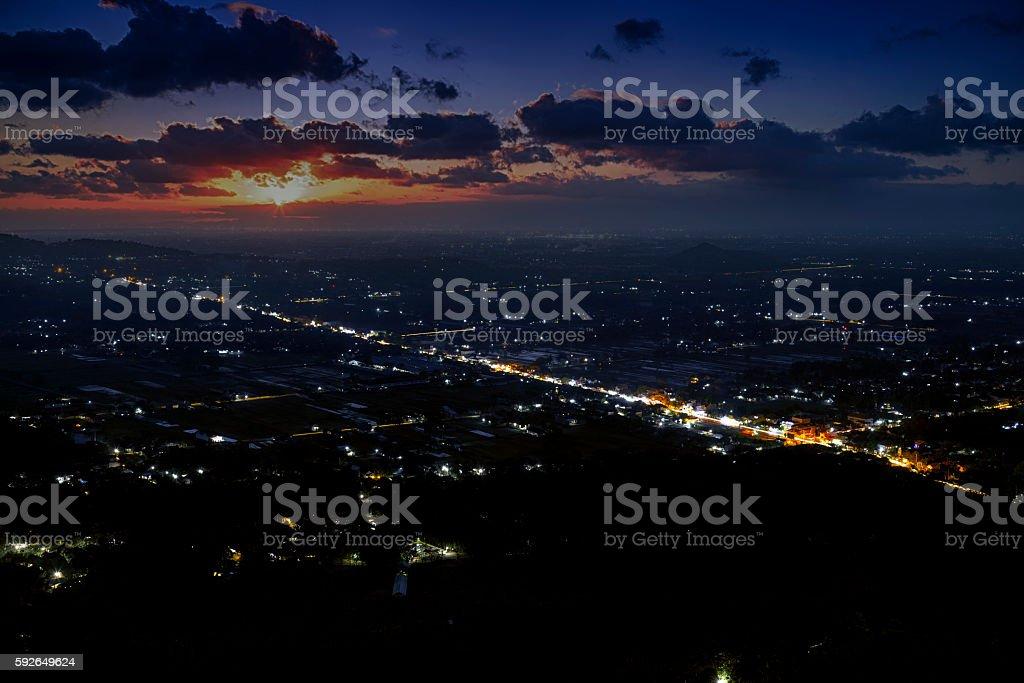 Night falling on Jogjakarta, Jawa, Indonesia stock photo