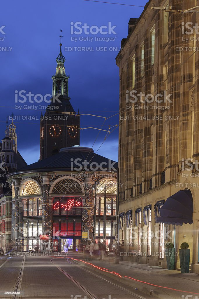night falling over The Hague royalty-free stock photo