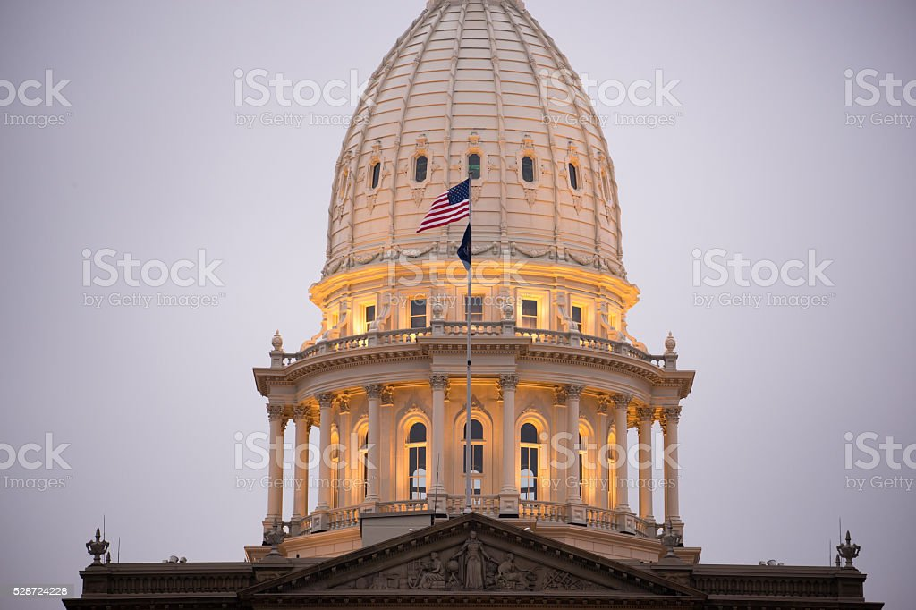 Night Falls Capital Building Lansing Michigan Downtown City Skyline stock photo