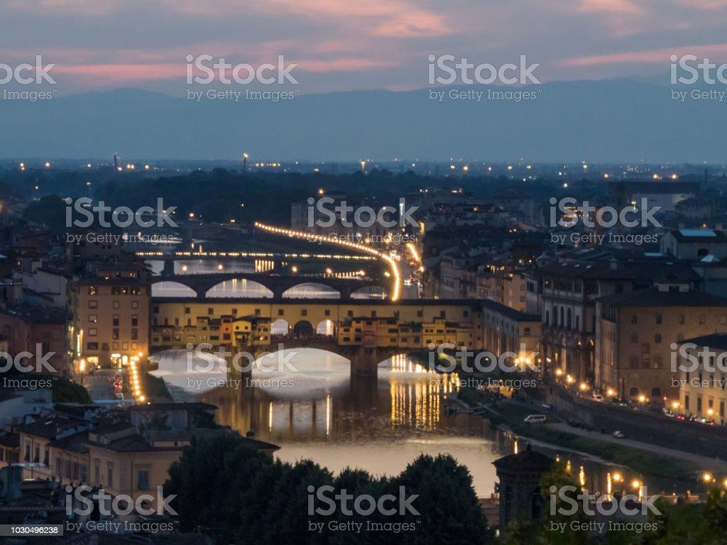 Night falls on Florence stock photo