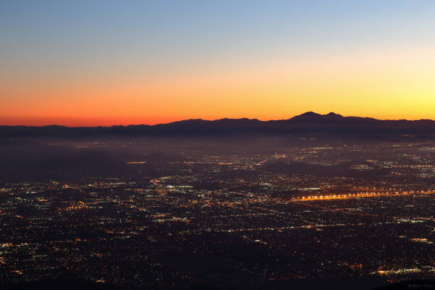Night falls on San Bernardino county View of San Bernardino country from Skyforest during a twilight hour redlands california stock pictures, royalty-free photos & images