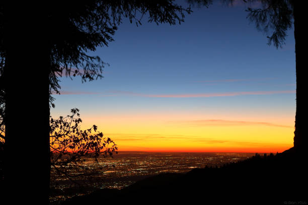 Night falls on San Bernardino county View of San Bernardino country from a cabin in Skyforest during a twilight hour redlands california stock pictures, royalty-free photos & images