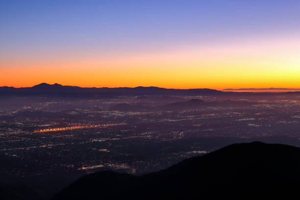 Night falls on San Bernardino county View of San Bernardino country from Skyforest during a twilight hour san bernardino california stock pictures, royalty-free photos & images