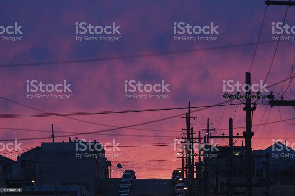 Night falls on San Francisco royalty-free stock photo