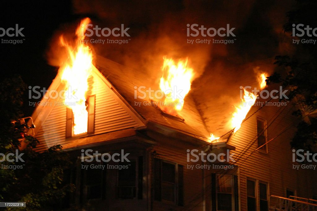 """Night Fire """"5:27am, 2-1/2 story wood frame with heavy fire showing on floor number 3. Beverly, Massachusetts, USA."""" Accidents and Disasters Stock Photo"""
