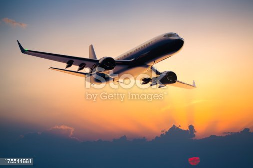 istock Night flight of a passenger jet airplane 175544661