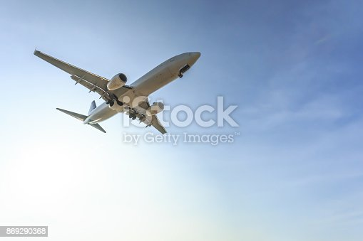 istock Night flight of a passenger jet airplane 869290368