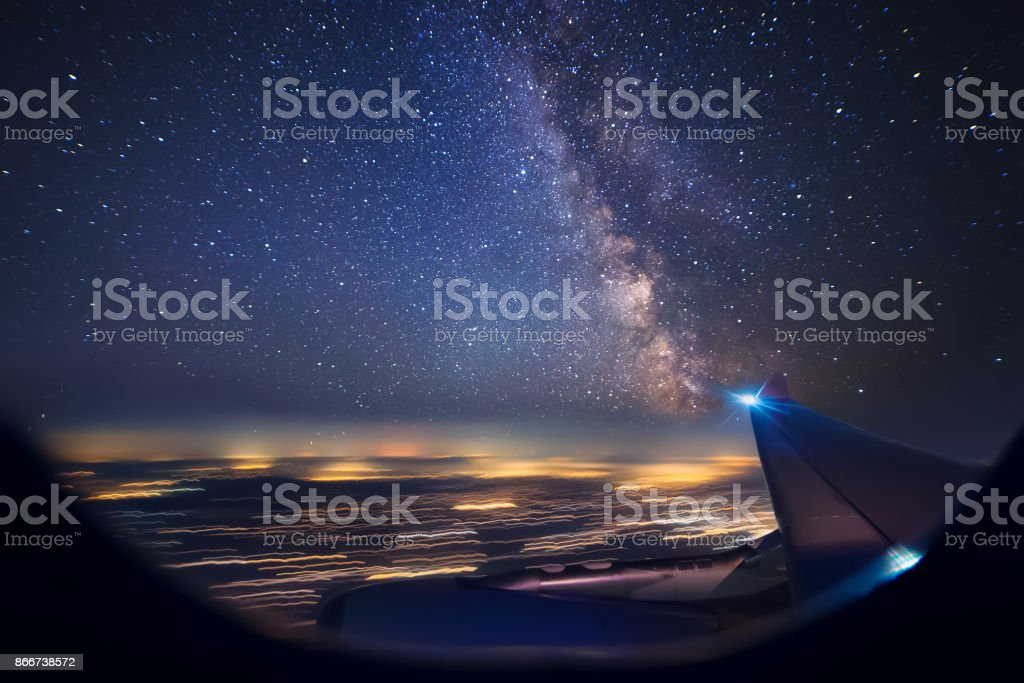 Night flight over cities. View from plane stock photo