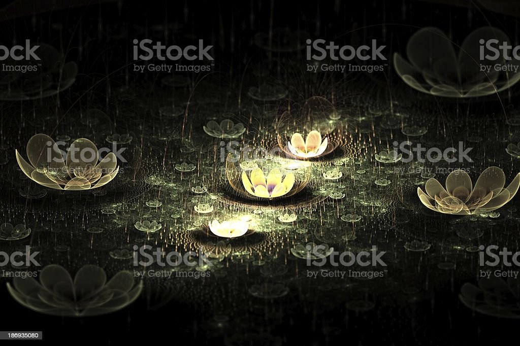 Night Flowers Abstract Fractal Design royalty-free stock photo