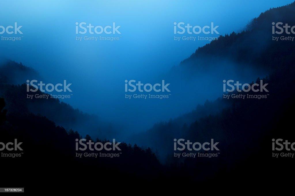 Night fog stock photo