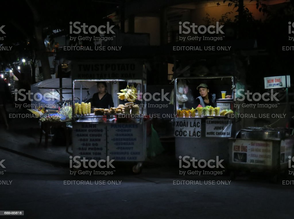 Night Food Carts, Hoi An, Vietnam stock photo