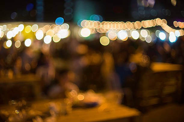 Night Food Market Blurred for background stock photo