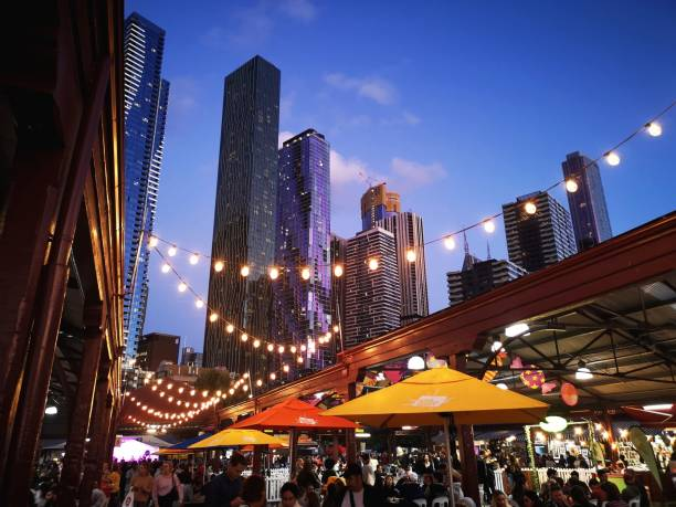 Night Food Market - Melbourne Melbourne, Australia: March 05, 2019: Ethnic food is sold at Queen Victoria Market Summer Night Market - every Wednesday throughout the summer season. food festival stock pictures, royalty-free photos & images