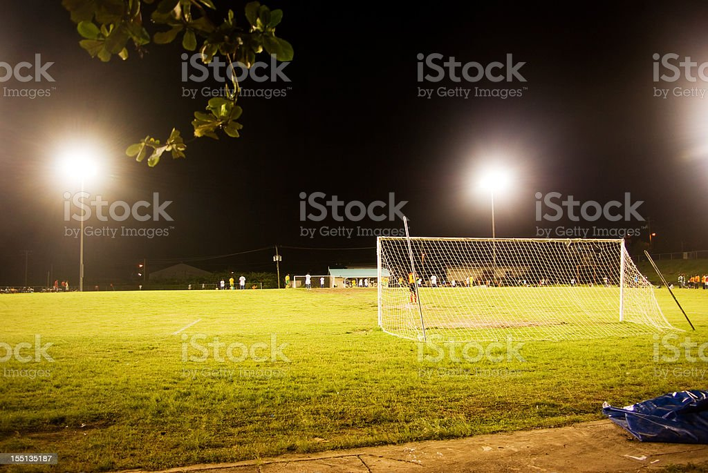 night football soccer game stock photo