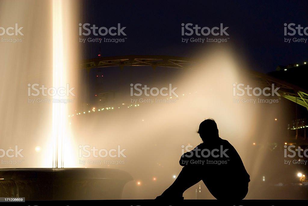Night Fountain Silhouette stock photo