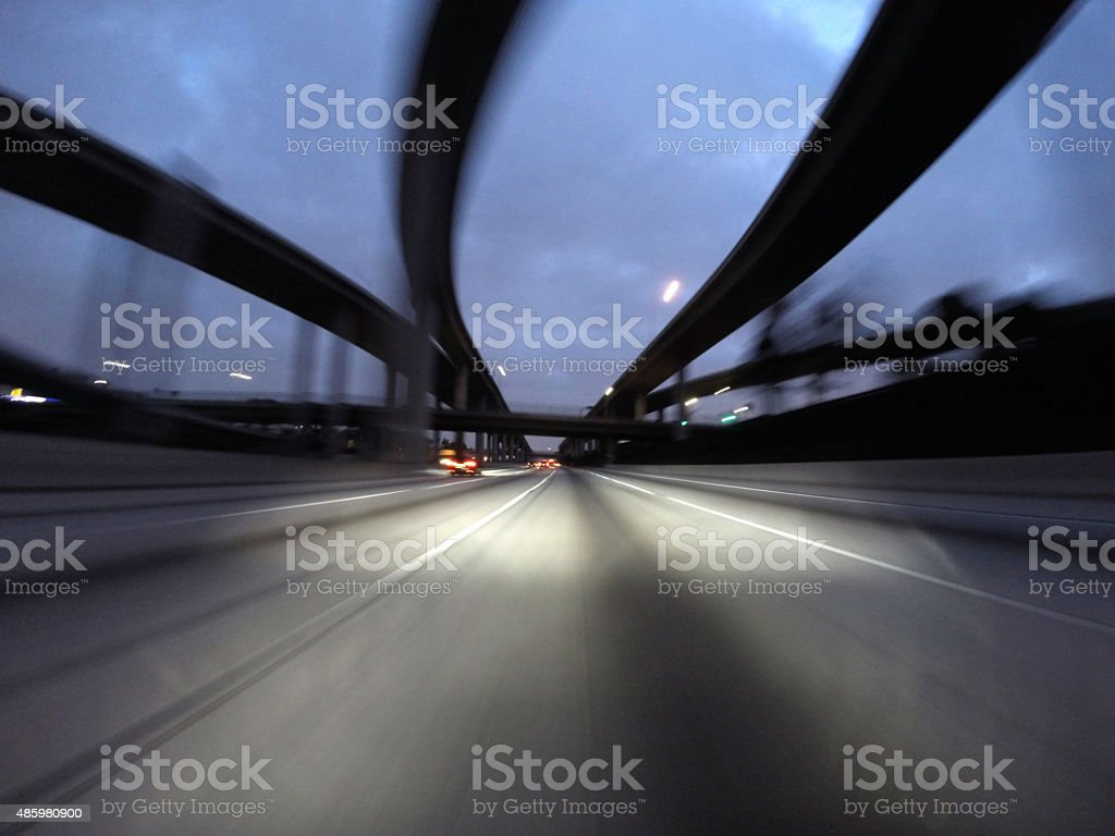 Night Freeway Interchange Motion stock photo
