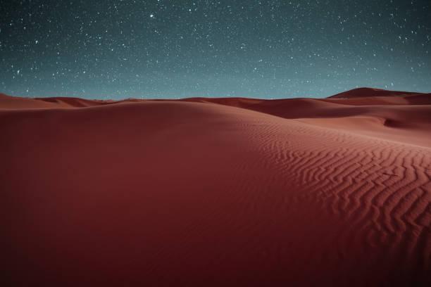 Night full of stars over the desert of Merzouga, Morocco. stock photo