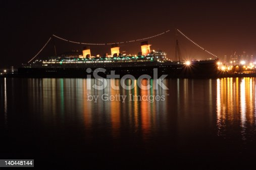 a long exposure capture of Queen Mary from Shoreline Dr in Long Beach.
