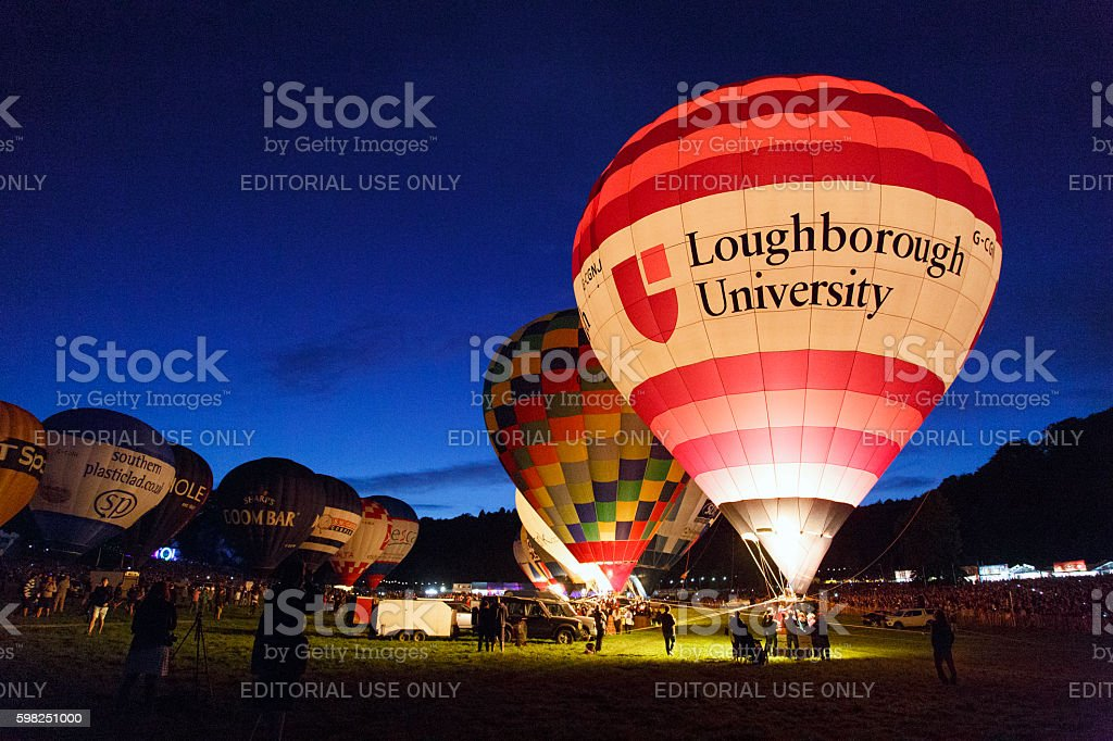 Night Glow at the Bristol Balloon Fiesta stock photo